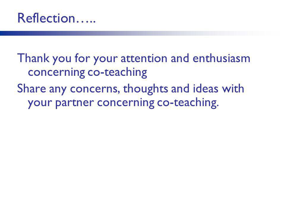 Reflection….. Thank you for your attention and enthusiasm concerning co-teaching Share any concerns, thoughts and ideas with your partner concerning c