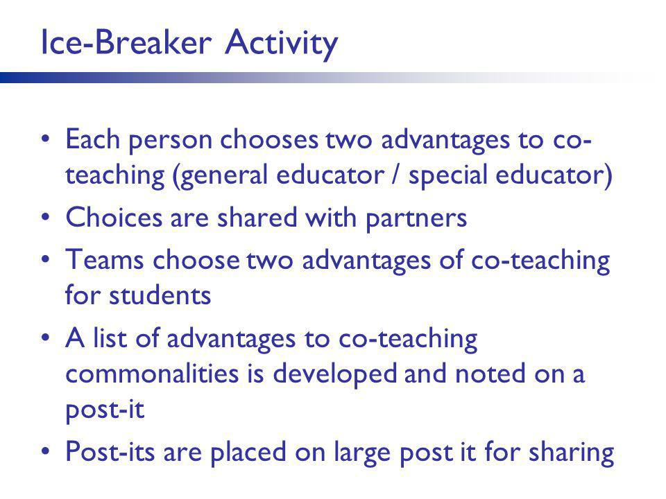 Ice-Breaker Activity Each person chooses two advantages to co- teaching (general educator / special educator) Choices are shared with partners Teams c