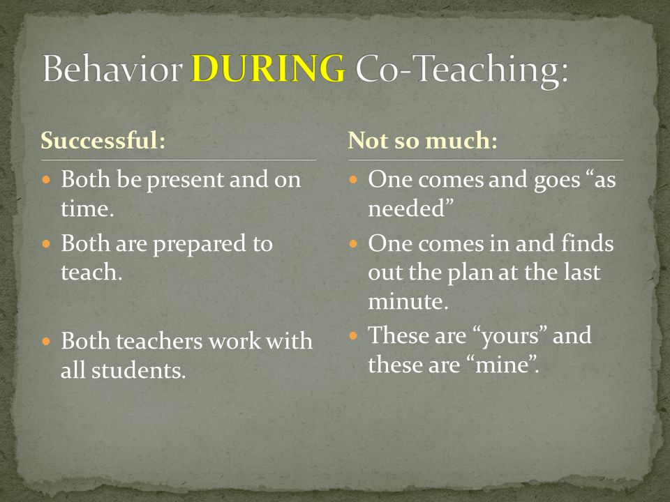 """Successful: Both be present and on time. Both are prepared to teach. Both teachers work with all students. One comes and goes """"as needed"""" One comes in"""