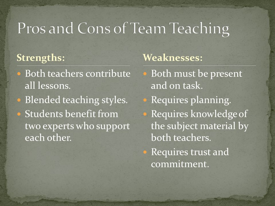Strengths: Both teachers contribute all lessons. Blended teaching styles. Students benefit from two experts who support each other. Both must be prese