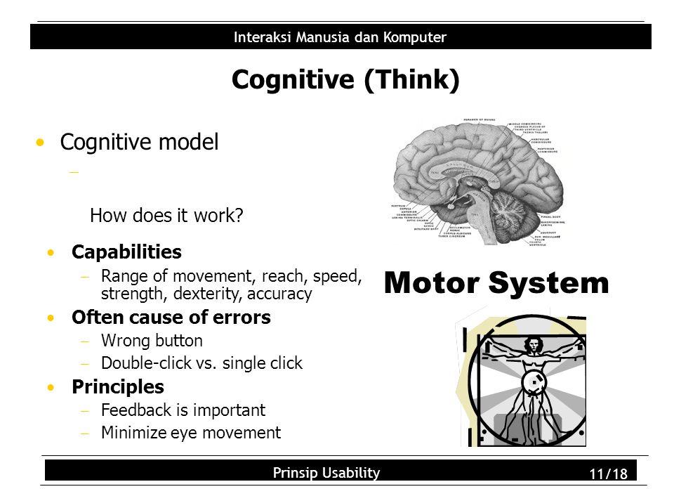 Usability Principles 11/18 Interaksi Manusia dan Komputer Prinsip Usability 11/18 Cognitive (Think) Cognitive model  How does it work.