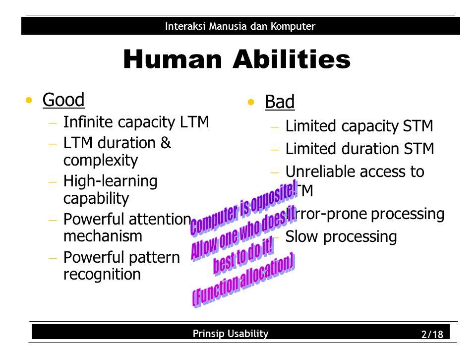 Usability Principles 2/18 Interaksi Manusia dan Komputer Prinsip Usability 2/18 Human Abilities Good  Infinite capacity LTM  LTM duration & complexi