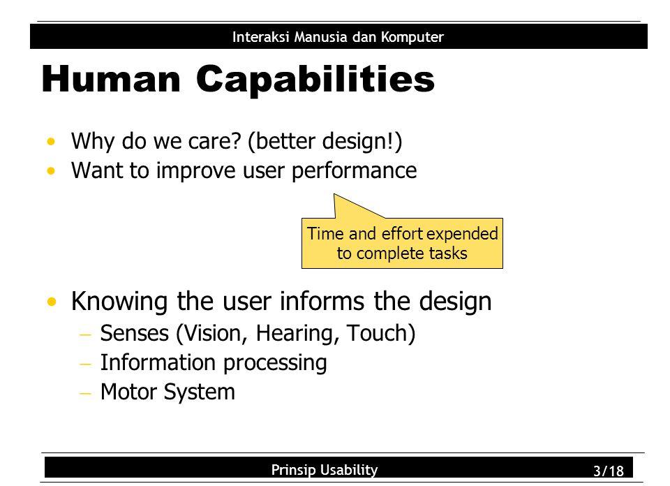 Usability Principles 3/18 Interaksi Manusia dan Komputer Prinsip Usability 3/18 Human Capabilities Why do we care.