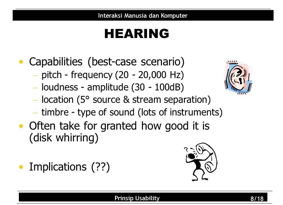 Usability Principles 9/18 Interaksi Manusia dan Komputer Prinsip Usability 9/18 Three main sensations handled by different types of receptors: Pressure (normal) Intense pressure (heat/pain) Temperature (hot/cold) Sensitivity, Dexterity, Flexibility, Speed Where important.