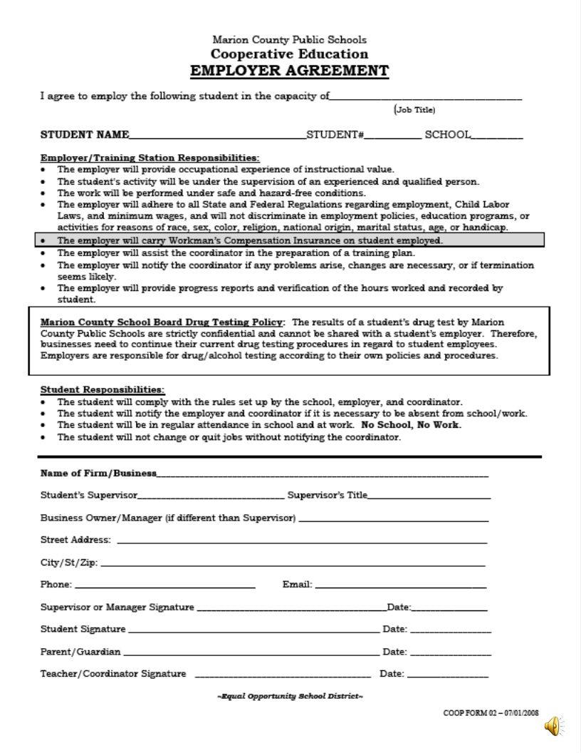 Employers Agreement This agreement is between The Marion County School Board and your employer.