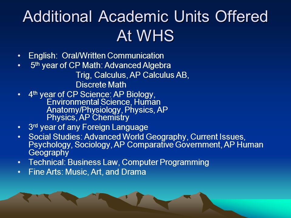 Additional Academic Units Offered At WHS English: Oral/Written Communication 5 th year of CP Math: Advanced Algebra Trig, Calculus, AP Calculus AB, Di