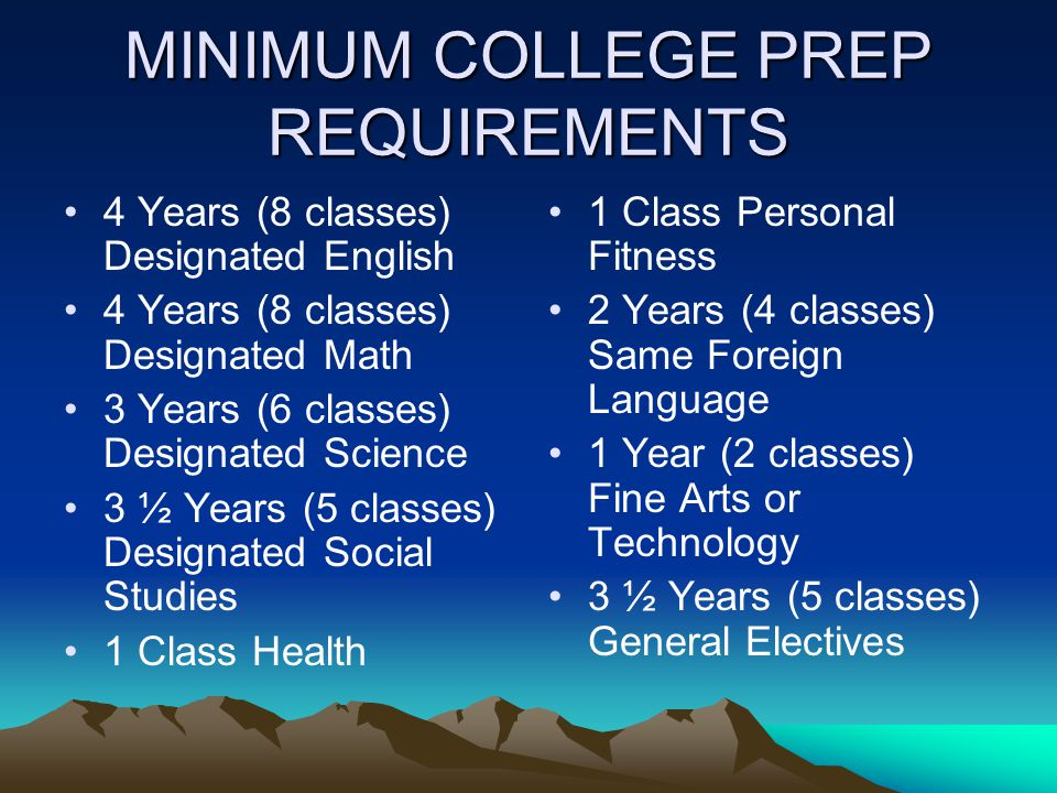 MINIMUM COLLEGE PREP REQUIREMENTS 4 Years (8 classes) Designated English 4 Years (8 classes) Designated Math 3 Years (6 classes) Designated Science 3