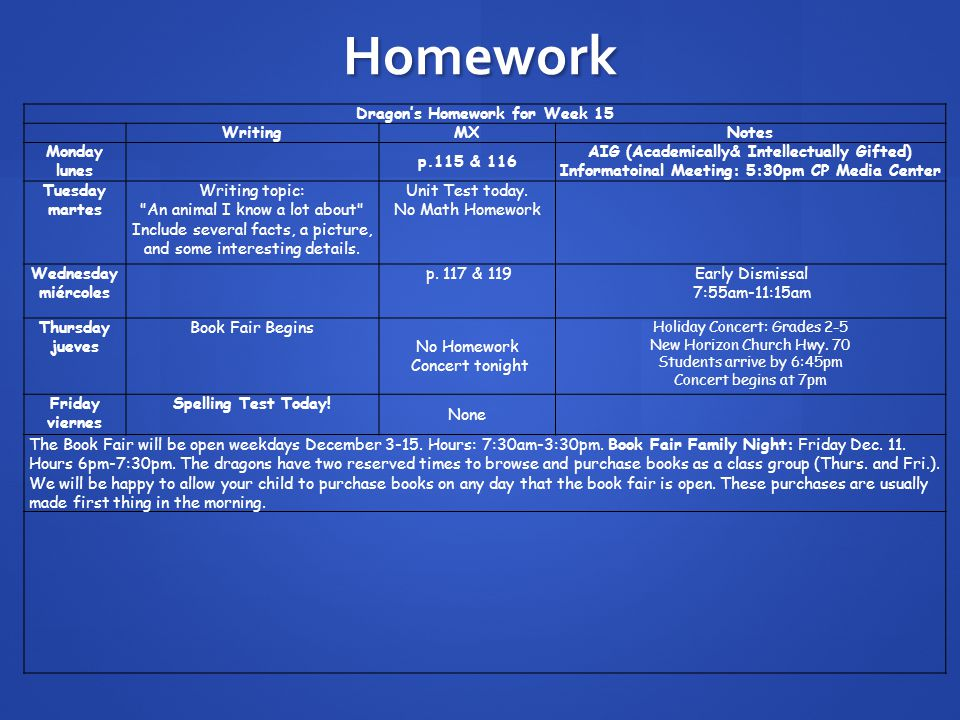 Homework Dragon's Homework for Week 15 WritingMXNotes Monday lunes p.115 & 116 AIG (Academically& Intellectually Gifted) Informatoinal Meeting: 5:30pm CP Media Center Tuesday martes Writing topic: An animal I know a lot about Include several facts, a picture, and some interesting details.