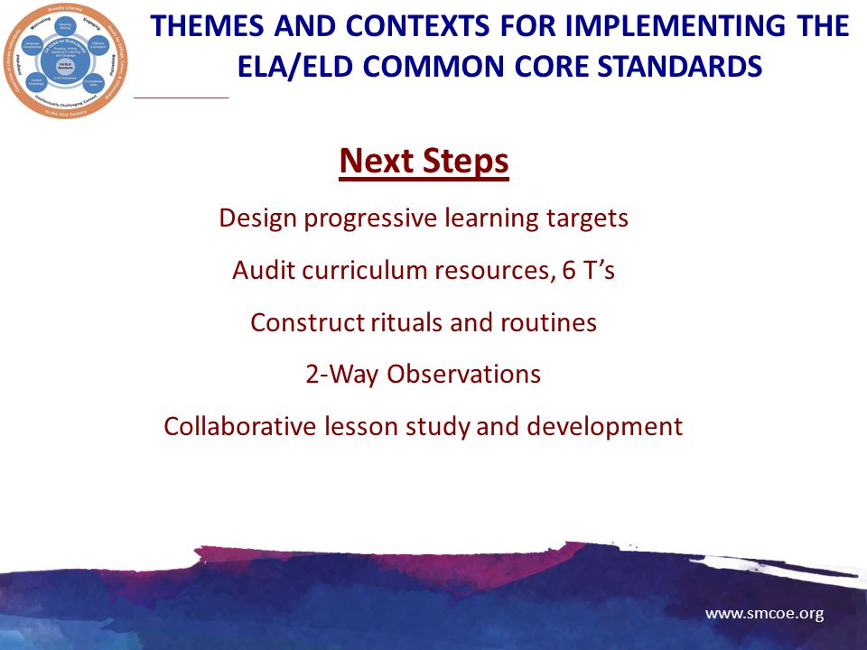 www.smcoe.org Next Steps Design progressive learning targets Audit curriculum resources, 6 T's Construct rituals and routines 2-Way Observations Colla