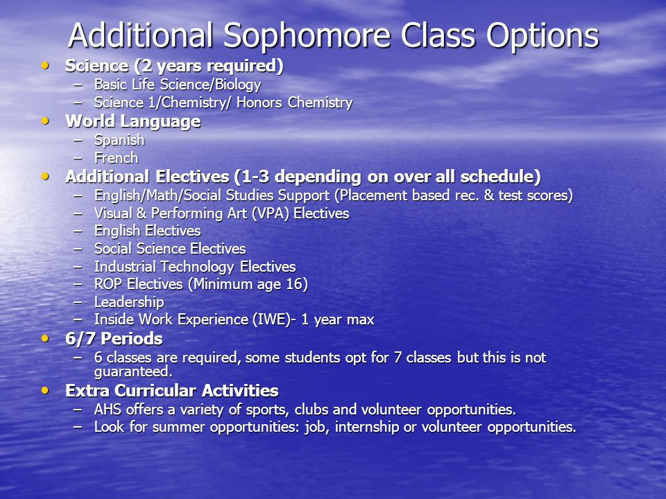 Additional Sophomore Class Options Science (2 years required) Science (2 years required) –Basic Life Science/Biology –Science 1/Chemistry/ Honors Chemistry World Language World Language –Spanish –French Additional Electives (1-3 depending on over all schedule) Additional Electives (1-3 depending on over all schedule) –English/Math/Social Studies Support (Placement based rec.