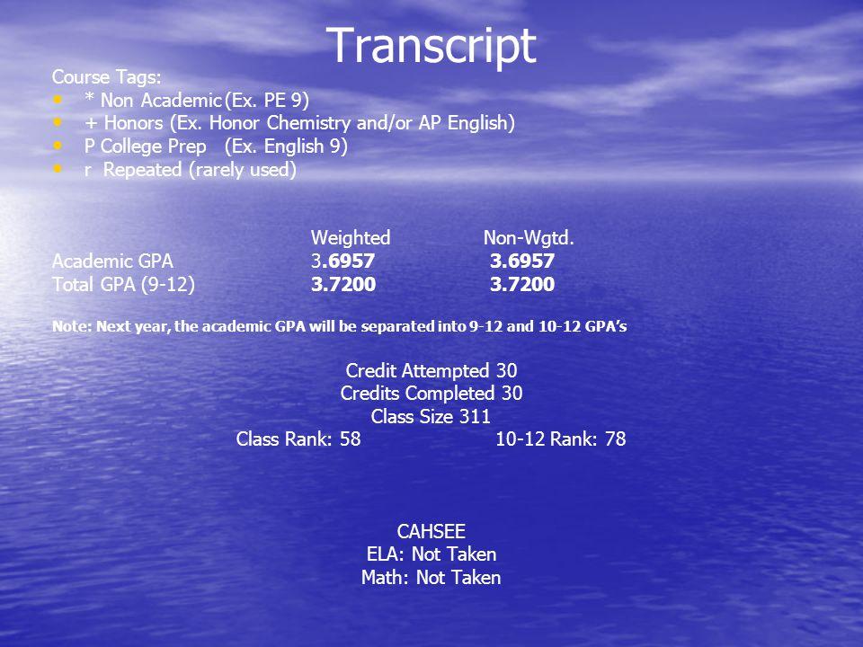 Transcript Course Tags: * Non Academic(Ex. PE 9) + Honors (Ex.