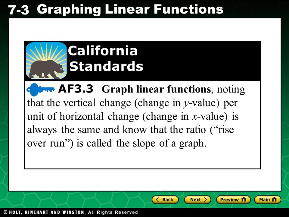 Holt CA Course 1 7-3 Graphing Linear Functions AF3.3 Graph linear functions, noting that the vertical change (change in y-value) per unit of horizontal change (change in x-value) is always the same and know that the ratio ( rise over run ) is called the slope of a graph.
