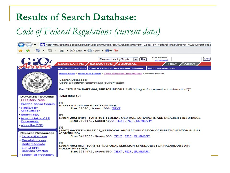 Results of Search Database: Code of Federal Regulations (current data)