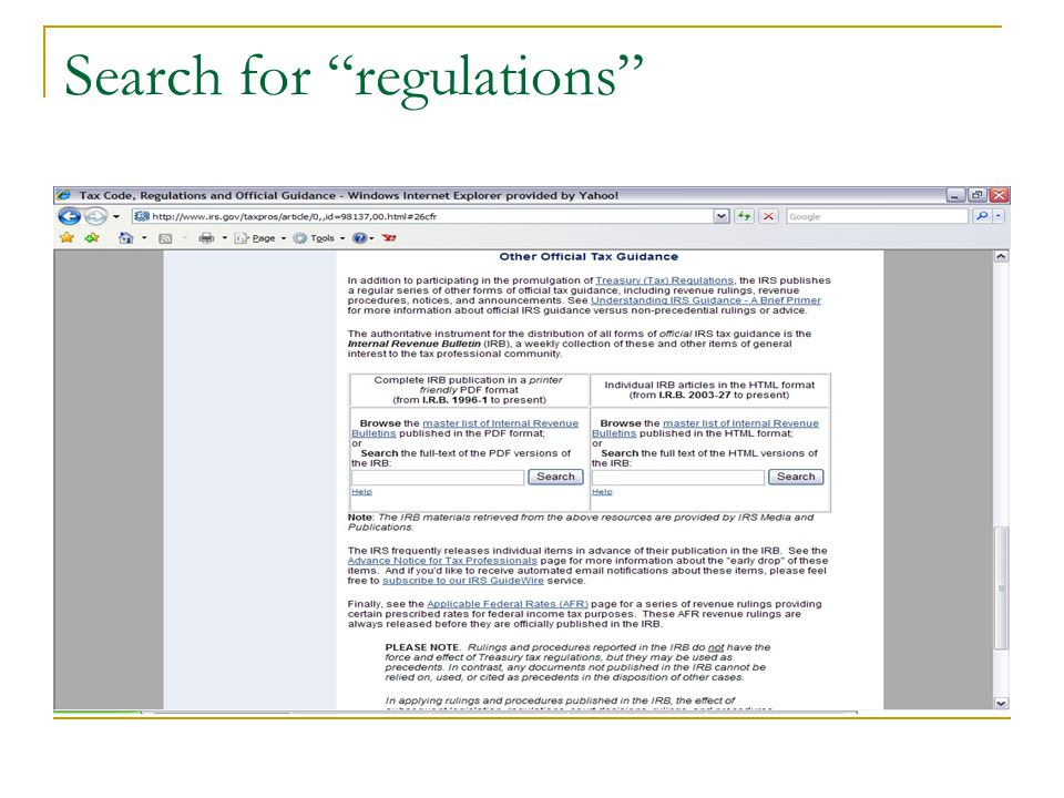 Search for regulations