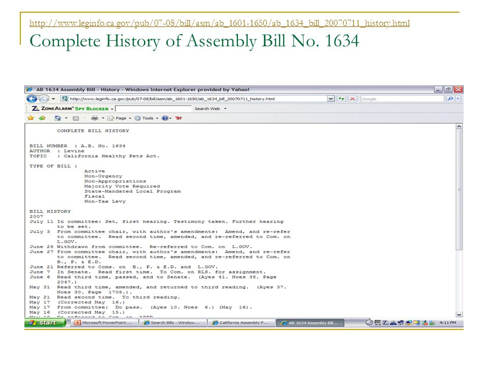 Complete History of Assembly Bill No.
