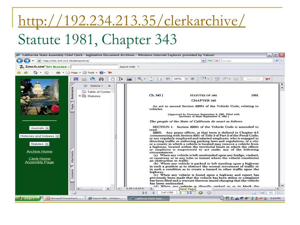 http://192.234.213.35/clerkarchive/ http://192.234.213.35/clerkarchive/ Statute 1981, Chapter 343