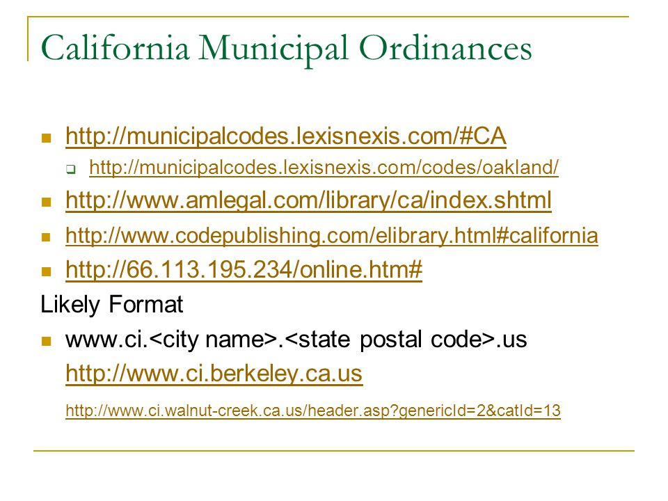 California Municipal Ordinances    Likely Format genericId=2&catId=13