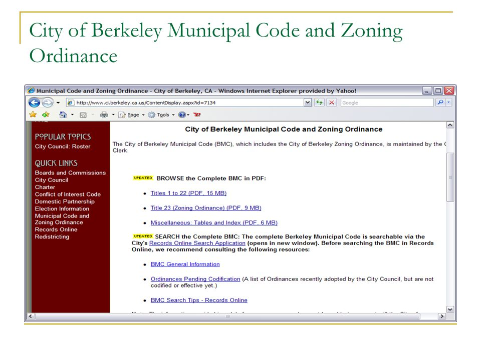 City of Berkeley Municipal Code and Zoning Ordinance