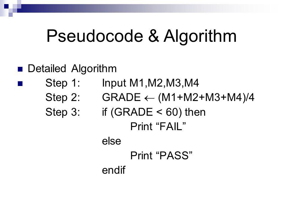 Pseudocode & Algorithm Detailed Algorithm Step 1: Input M1,M2,M3,M4 Step 2: GRADE  (M1+M2+M3+M4)/4 Step 3: if (GRADE < 60) then Print FAIL else Print PASS endif