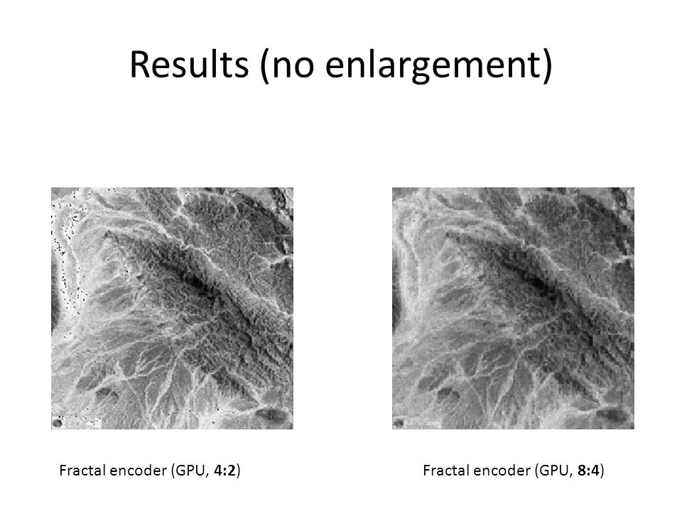 Results (no enlargement) Fractal encoder (GPU, 8:4)Fractal encoder (GPU, 4:2)