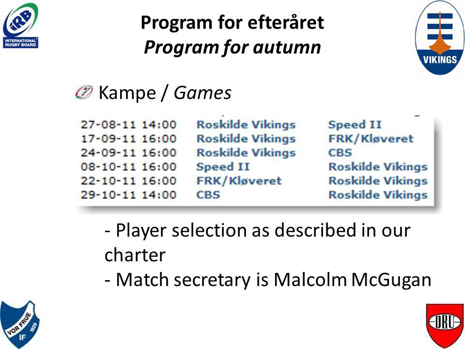 Program for efteråret Program for autumn Kamp udvælgelse / Game selection - Medlemskab / Paid membership Medlemskab / Paid membership - DRU licens DRU licens - Træningsaktiv / Active at practice