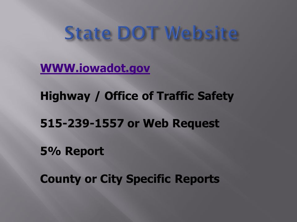 WWW.iowadot.gov Highway / Office of Traffic Safety 515-239-1557 or Web Request 5% Report County or City Specific Reports