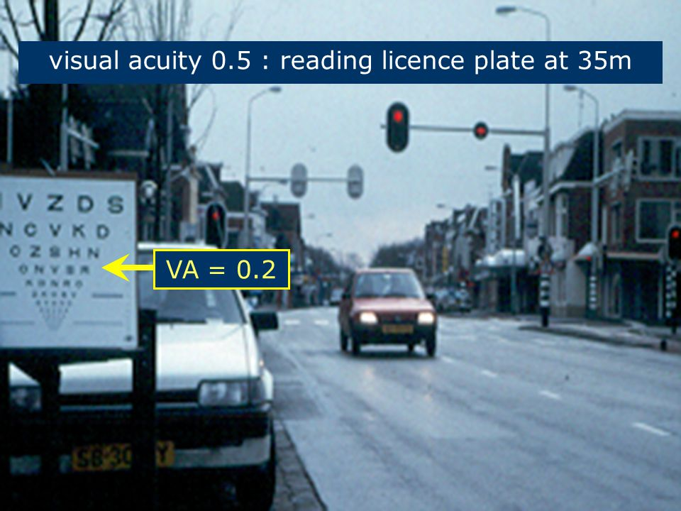 Shared Space 5 VA = 0.2 visual acuity 0.5 : reading licence plate at 35m
