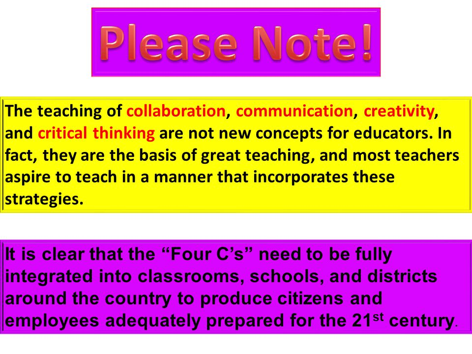 The teaching of collaboration, communication, creativity, and critical thinking are not new concepts for educators. In fact, they are the basis of gre
