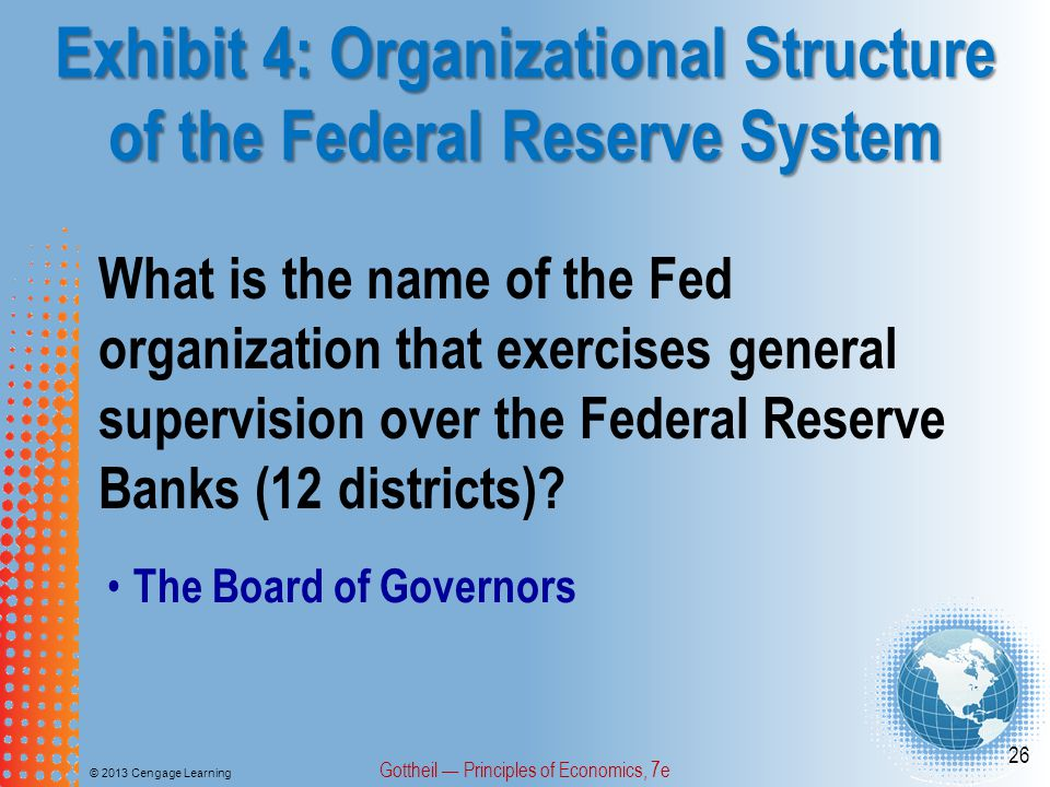 Exhibit 4: Organizational Structure of the Federal Reserve System © 2013 Cengage Learning Gottheil — Principles of Economics, 7e 26 What is the name o