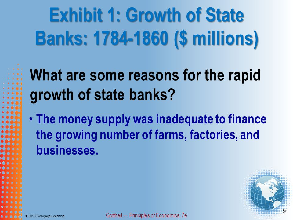 Exhibit 1: Growth of State Banks: 1784-1860 ($ millions) © 2013 Cengage Learning Gottheil — Principles of Economics, 7e 9 What are some reasons for th