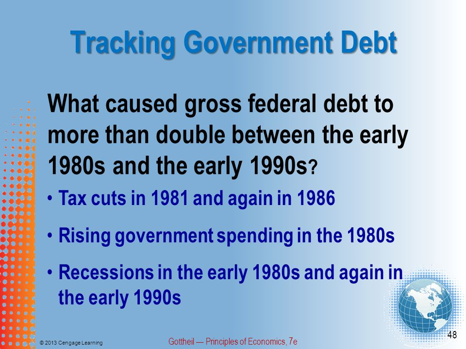 Tracking Government Debt © 2013 Cengage Learning Gottheil — Principles of Economics, 7e 48 What caused gross federal debt to more than double between the early 1980s and the early 1990s .