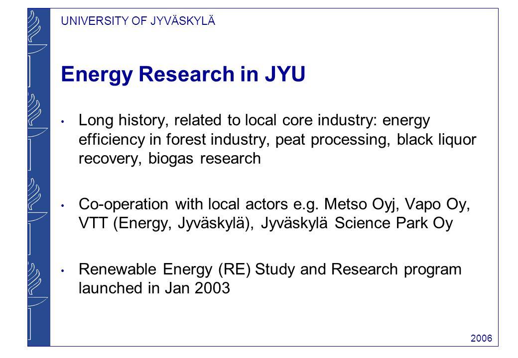 UNIVERSITY OF JYVÄSKYLÄ 2006 a vision from a physics professor