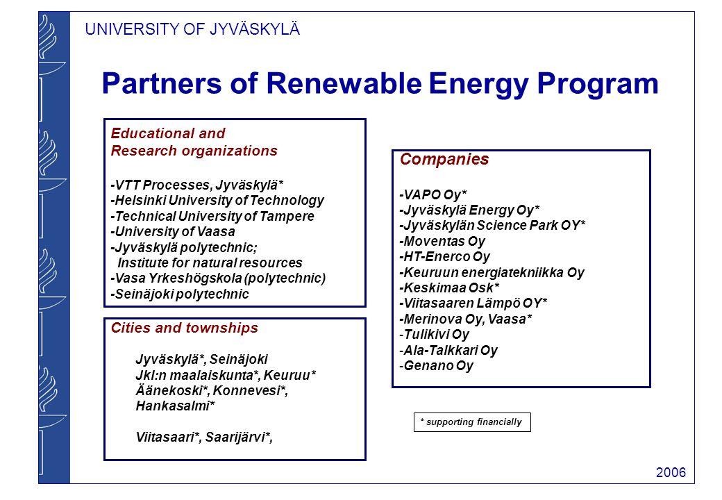 UNIVERSITY OF JYVÄSKYLÄ 2006 M.Sc.Training in Renewable Energy Program 2.