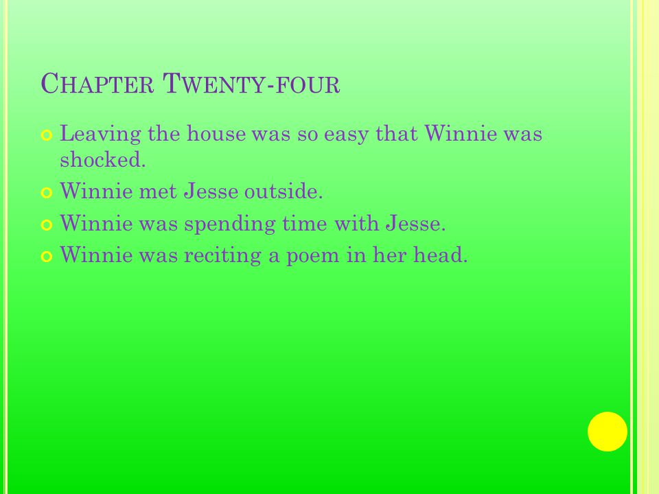 C HAPTER T WENTY - FOUR Leaving the house was so easy that Winnie was shocked.