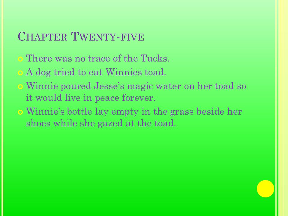 C HAPTER T WENTY - FIVE There was no trace of the Tucks.