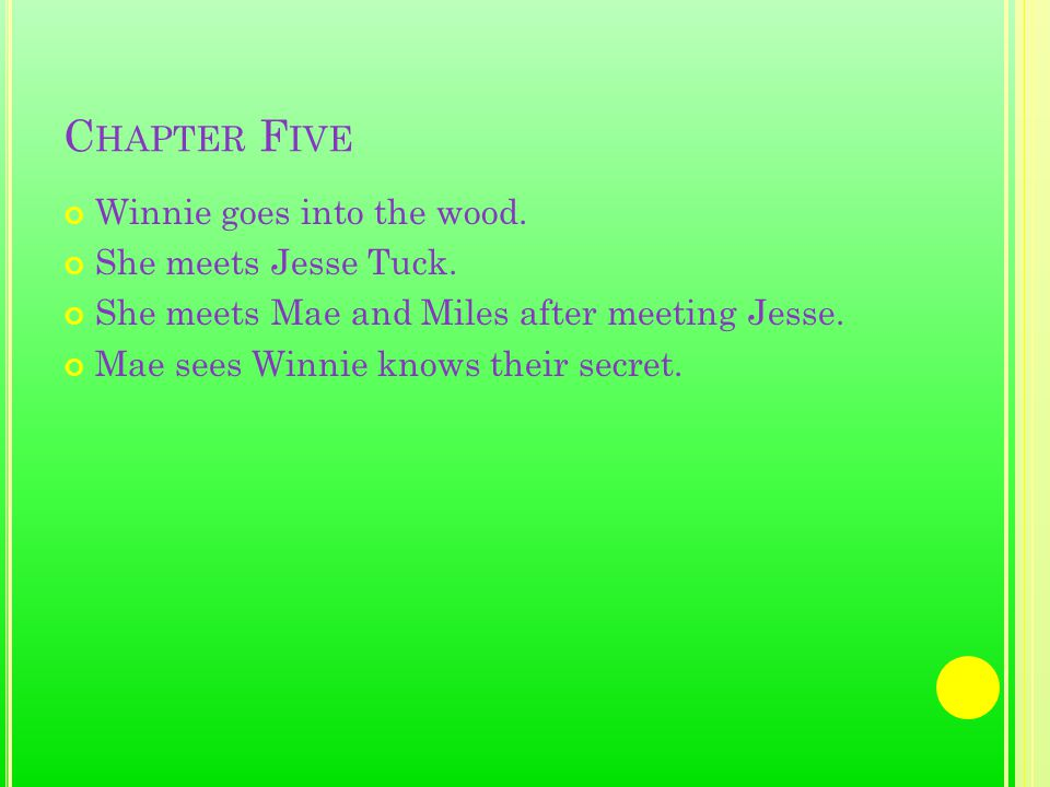 C HAPTER F IVE Winnie goes into the wood. She meets Jesse Tuck.