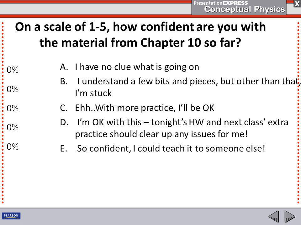 On a scale of 1-5, how confident are you with the material from Chapter 10 so far? A.I have no clue what is going on B. I understand a few bits and pi