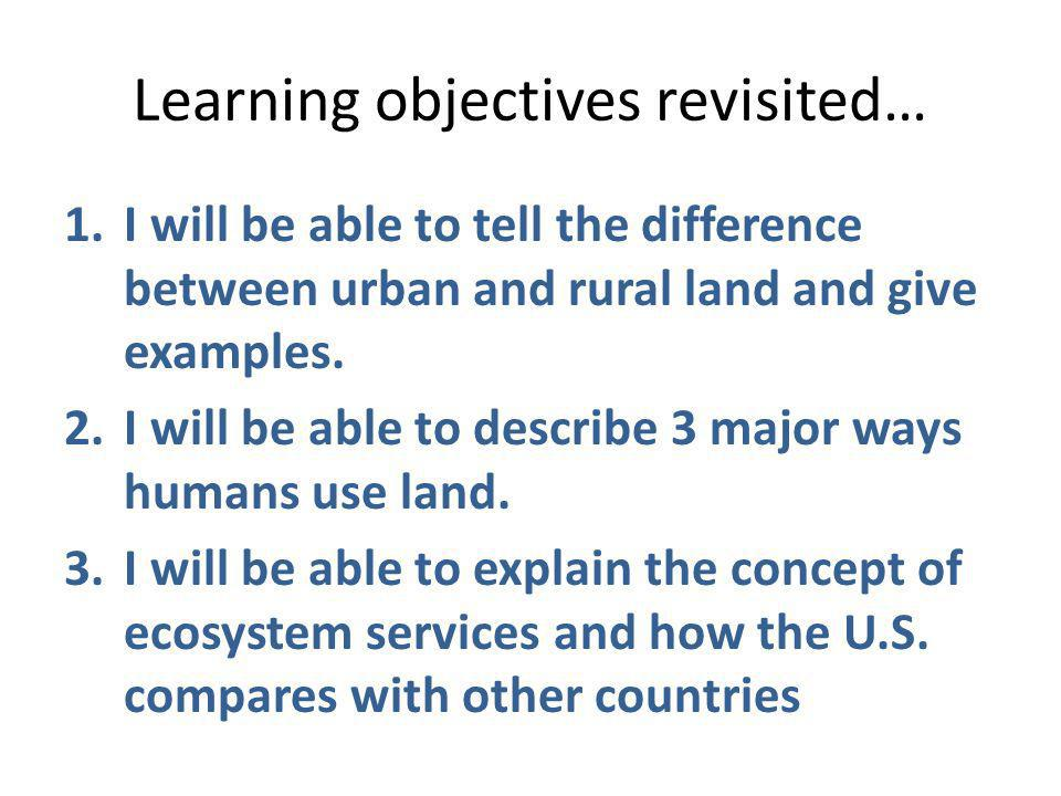 Learning objectives revisited… 1.I will be able to tell the difference between urban and rural land and give examples. 2.I will be able to describe 3