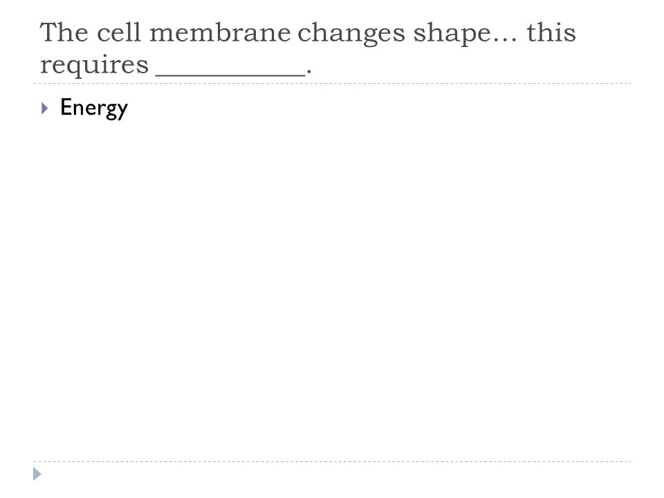 The cell membrane changes shape… this requires ___________.  Energy