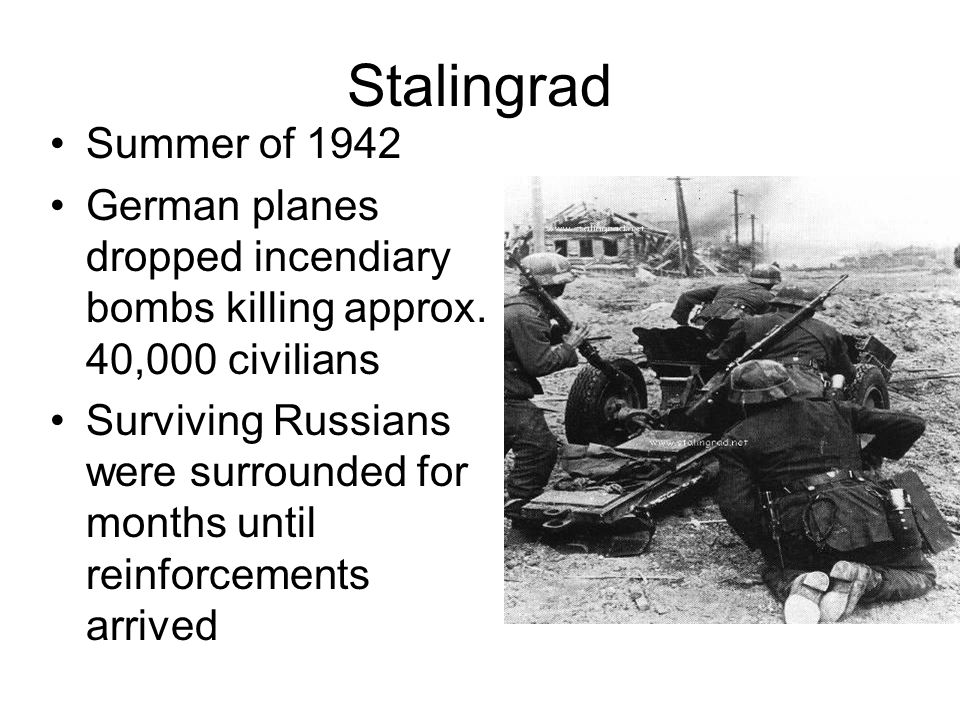 Stalingrad Summer of 1942 German planes dropped incendiary bombs killing approx.