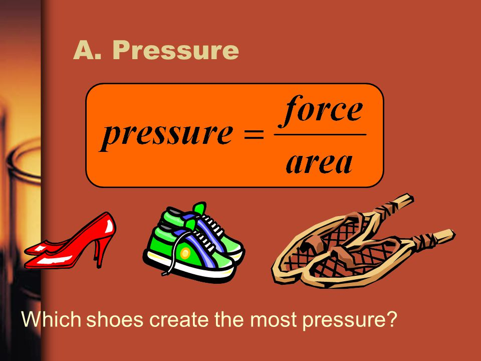 A. Pressure Which shoes create the most pressure?