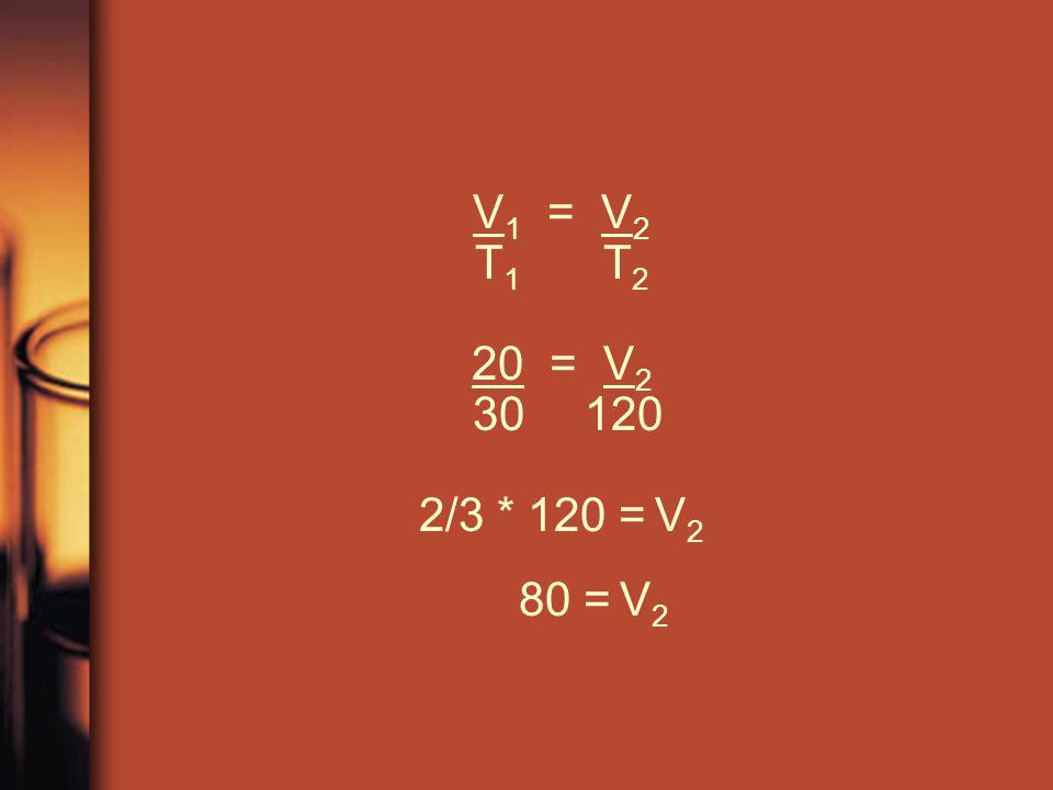 V 1 = V 2 T 1 T 2 20 = V 2 30 120 2/3 * 120 = V 2 80 = V 2