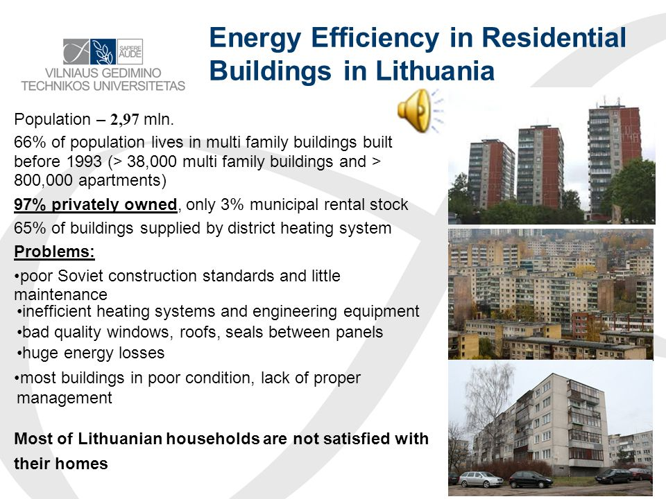 Numbers of completed buildings in Lithuania New dwellings (residential buildings) completed Indicators2008201020112013 Useful floor area of dwellings completed, thous.