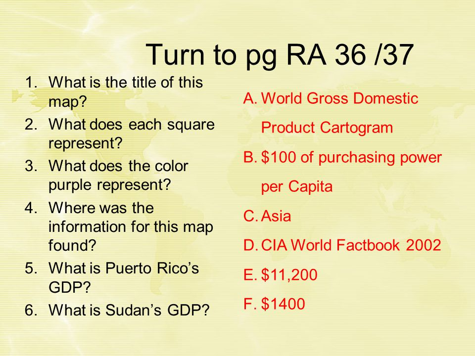 Turn to pg RA 36 /37 1.What is the title of this map.