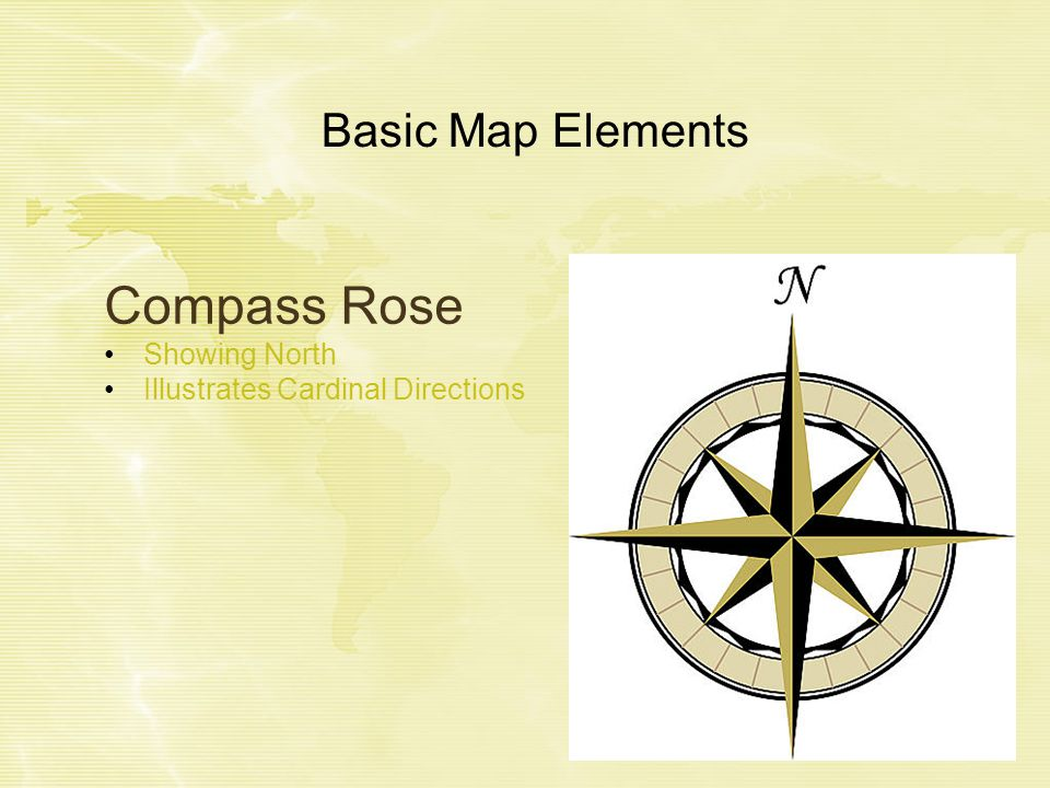 Basic Map Elements Compass Rose Showing North Illustrates Cardinal Directions
