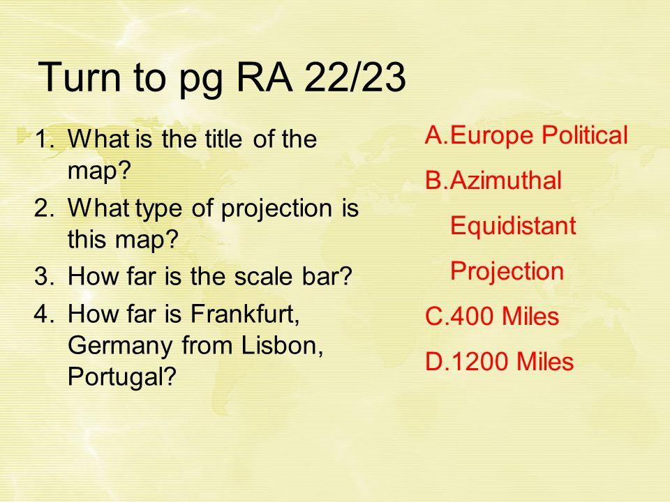 Turn to pg RA 22/23 1.What is the title of the map.
