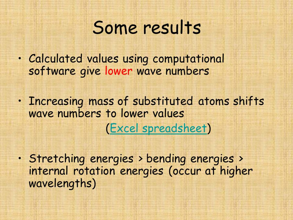 Some results Calculated values using computational software give lower wave numbers Increasing mass of substituted atoms shifts wave numbers to lower