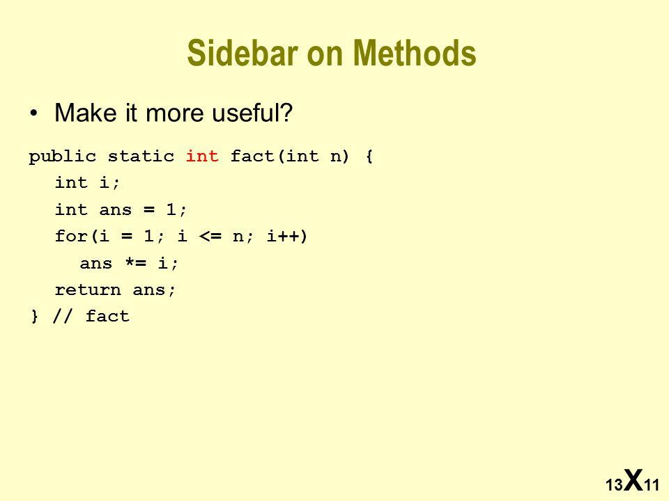 13 X 11 Sidebar on Methods Make it more useful? public static int fact(int n) { int i; int ans = 1; for(i = 1; i <= n; i++) ans *= i; return ans; } //
