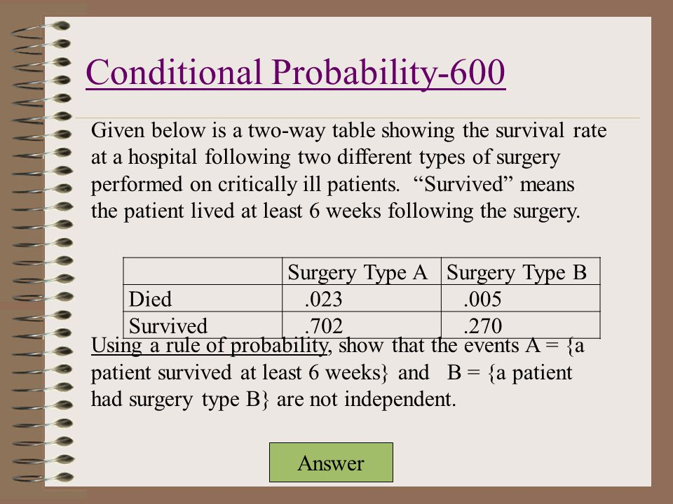 Answer Given below is a two-way table showing the survival rate at a hospital following two different types of surgery performed on critically ill patients.