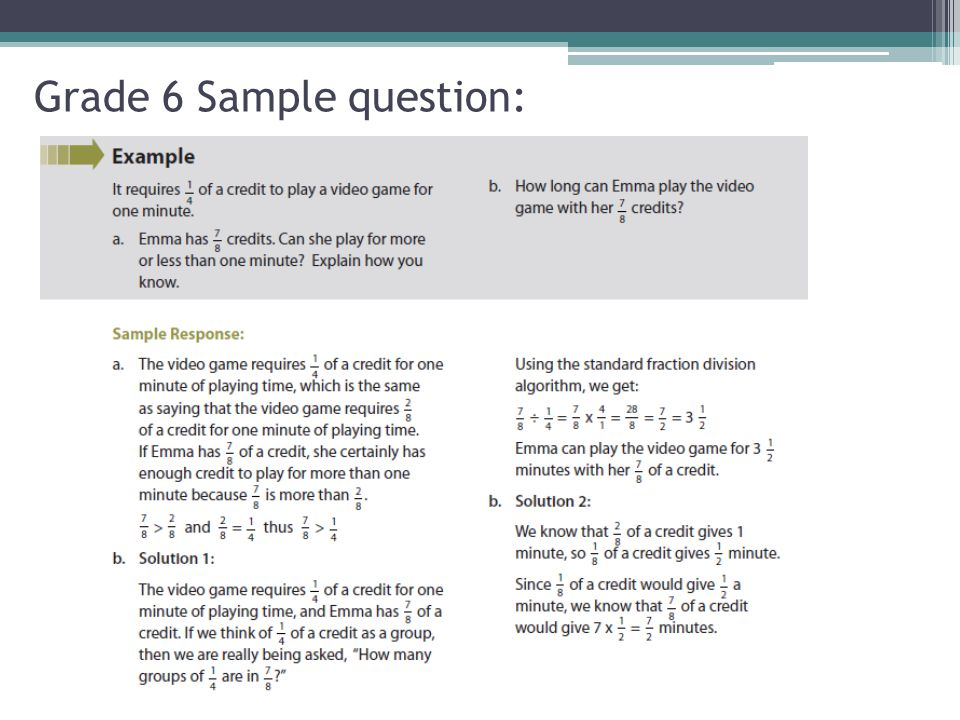 Grade 6 Sample question: